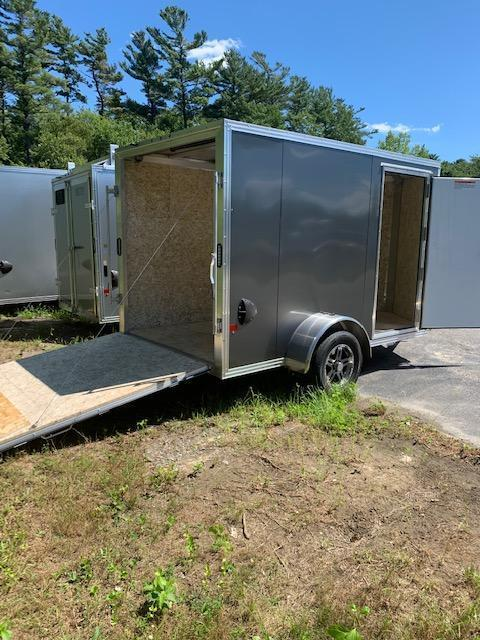 2021 EZ HAULER 6X10 Enclosed Cargo Trailer - CHARCOAL - Ramp Door