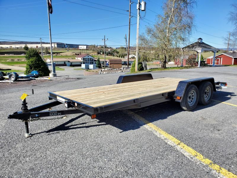 Trailer Baron Economy Wood Deck Car Hauler 18 7K 51 Side Slide In Ramps 4 Frame Tongue 2 Dovetail Heavy Duty Fenders 2 3500 Braking Axles 15 Nitrogen Filled Radial Tires