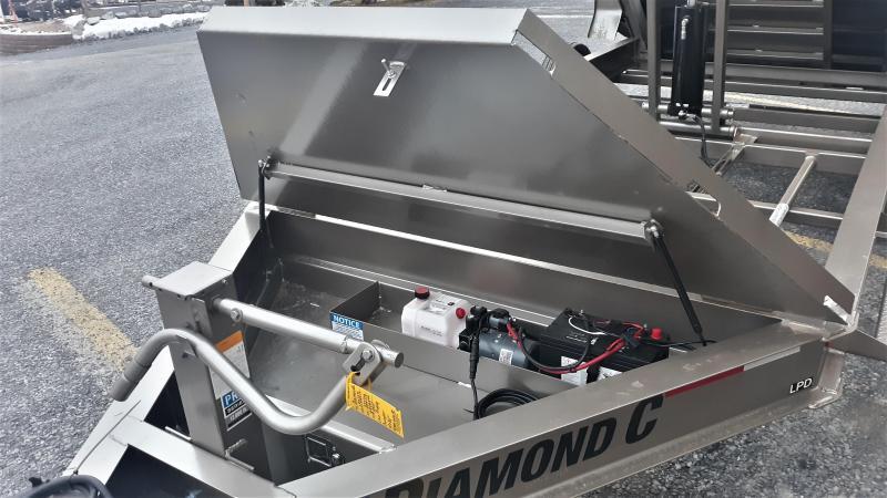 "Diamond C Low Profile Dumper 82""x14' 14.9K (Metallic Mocha) Scissor Lift -8"" I-Beam Frame -12K Drop Leg Jack -7000# Straight Axles -Spare Mount -36"" Side Step -16"" Radial Tires - 20' Tarp Kit Included"