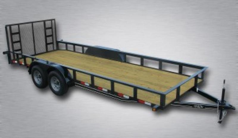 "General Duty Tandem Axle Landscape 20' 10K -4' Spring Assisted Gate -3""x3""x3/16"" Angle Frame -3""x3""x3/16"" Angle Top Rail -5"" Channel Tongue -2' Dovetail -82"" Inside Width 15"" Nitrogen Filled Radial Tires"