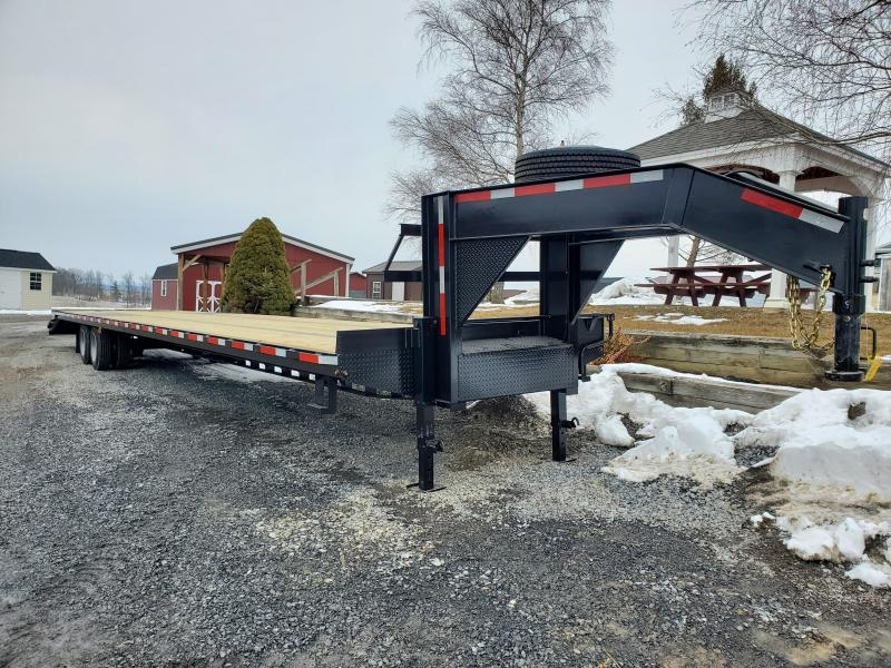 "American Trailer Gooseneck Deckover - 40'+5' (dovetail) - 30K GVWR - Lay Flat Mammoth Ramps - 34"" Deck Height - Spare Included"