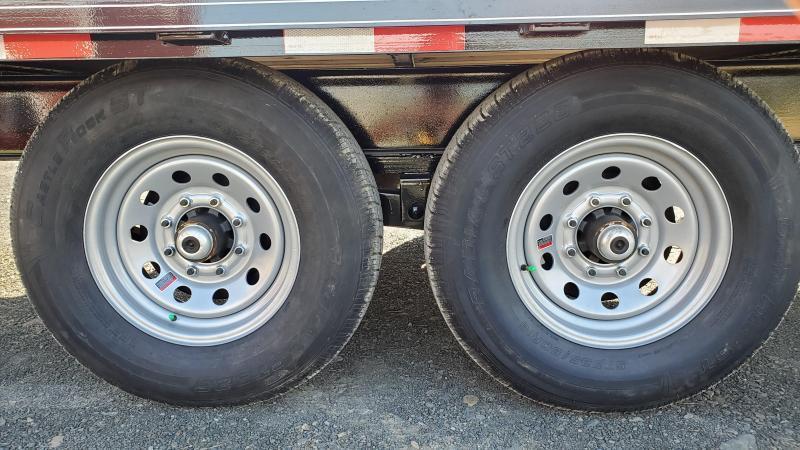 """General Duty Pintle Deckover 22' 14K -5' Swing Up Ramps -8"""" I-Beam Frame -Adjustable Coupler -12K Drop Leg Jack -4' Wood Dovetail -Sealed Beam Lights -16"""" 10 Ply Nitrogen Filled Radial Tires"""