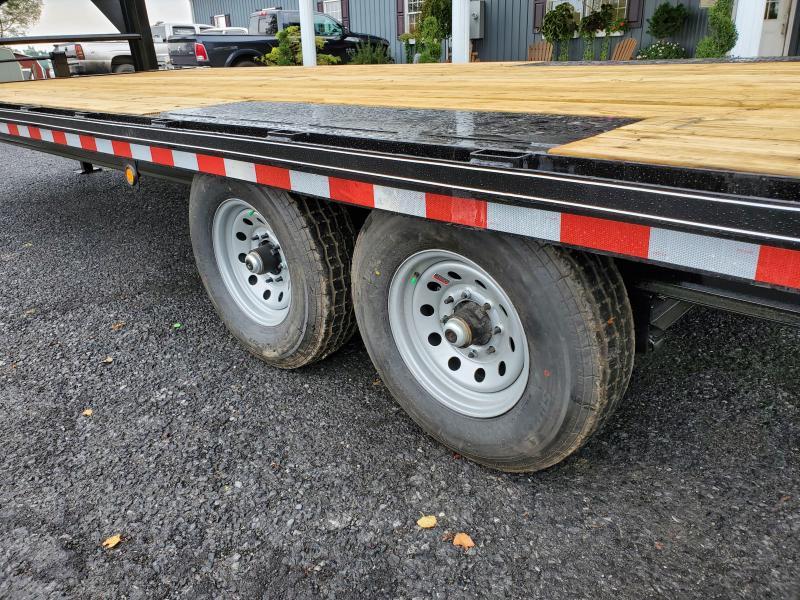 """Trailer Baron Pro-Grade Gooseneck Deckover 24' 17K -Pop-Up Dovetail -5' Swing Up Ramps -10"""" I-Beam Frame -12"""" Uprights with 10"""" Neck -12K Jack -7K Braking Axles - 16"""" Nitrogen Filled Radial Tires"""