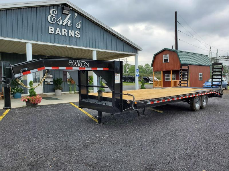 "Trailer Baron Pro-Grade Gooseneck Deckover 24' 17K -Pop-Up Dovetail -5' Swing Up Ramps -10"" I-Beam Frame -12"" Uprights with 10"" Neck -12K Jack -7K Braking Axles - 16"" Nitrogen Filled Radial Tires"