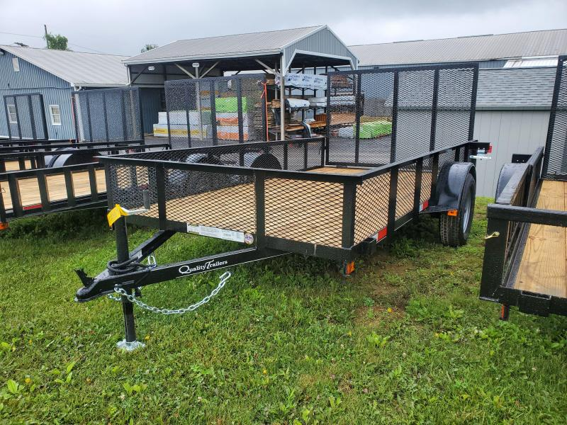 """Quality Trailers General Duty Single Axle Landscape 12'X77"""" MESH Sides -4' Landscape Gate -3""""x3""""x3/16"""" Angle Frame -3"""" Channel Tongue -2""""x2"""" Angle Top Rail -15"""" Nitrogen Filled Radial Tires"""