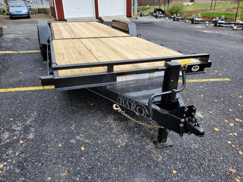 "Trailer Baron Pro-Grade Split-Tilt Equipment 22'6"" 15K -8' Fixed Deck -6"" Channel Frame & Tongue -Tool Tray With Lockable Lid -LED Lights -12K Drop Leg Jack -Slipper Spring Suspension -7000# Braking Axles -16"" 10 Ply Nitrogen Filled Radial Tires"