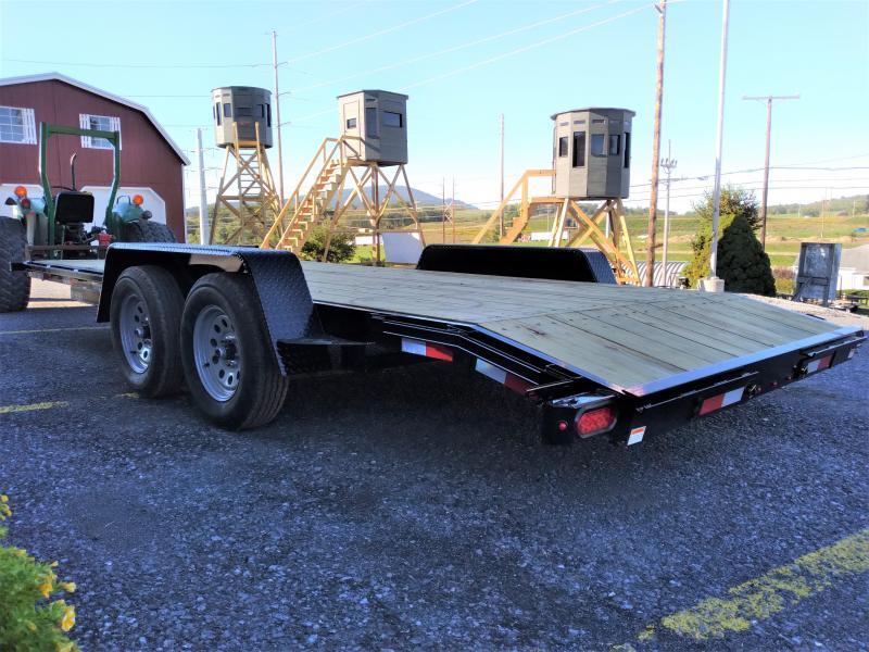 American Trailer Pro Grade Wood Deck Car Hauler 18 7K  5 Channel Frame 4 Tongue 2 Dovetail LED Lights Heavy Duty Fenders 15 8 Ply Nitrogen Filled Radial Tires
