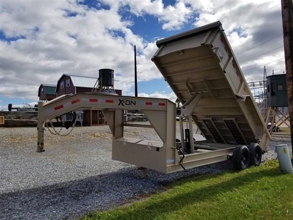 "X-ON Gooseneck Dumper 83""x14' 14K -Scissor Lift -7 Gauge Floor -6"" I-Beam Frame -5' Slide In Ramps --10K Drop Leg Jack -Tarp Kit Included -16"" Radial Tires"