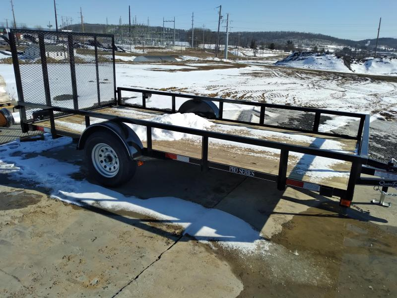 "Quality Trailers Pro Grade Utility Trailer 14'x77"" - 3 x3 x3 16 Angle Frame -  2 x2 x1 8 Tube Top Railing -  3"" Channel Tongue -  4 Spring Assist Rear Gate - 15"" Nitrogen Filled Radial Tires - LED Lights"