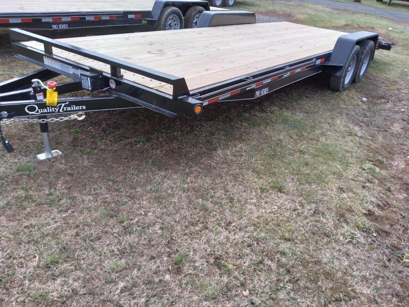 "Quality Trailers Pro Grade Wood Deck SidexSide Hauler 22' 7K -5' Self Storing Ramps -5"" Channel Frame -5"" Channel Tongue -2' Dovetail -Sealed Beam Lighting -Heavy Duty Fenders -15"" Nitrogen Filled Radial Tires"