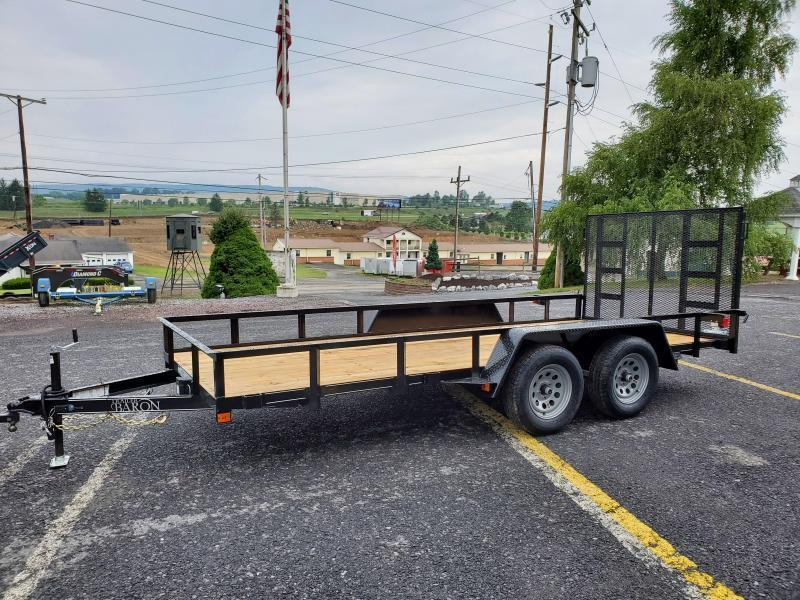 "Trailer Baron Economy Tandem Axle Landscape 16' 7K -4"" Landscape Gate -3""x3""x3/16"" Angle Frame -2""x2""x3/16"" Angle Top Rail -4"" Channel Tongue -No Dove -77"" Inside Width -(2) 3500# Braking Axles -15"" Nitrogen Filled Radial Tires"