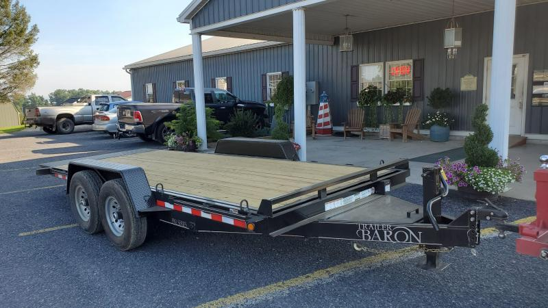 "Trailer Baron 18' Pro Grade Full Tilt Equipment Trailer- 15K GVWR- 82"" Between Fenders- 7K Dexter Axles With 4 Wheel Brakes- 16"" Nitrogen Filled 10 Ply Load Range E Radial Tires- 6"" Channel Frame- 3"" Channel Crossmembers- 6"" Channel Wrap Around To"
