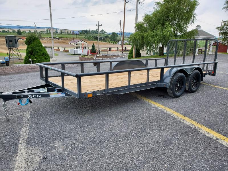 "2020 X-On 18' Landscape Utility Trailer- 7K GVWR-  4"" CHANNEL FRAME COUPLER: 2"" A-FRAME COUPLER (7K) TOP RAIL: 2"" X 2"" ANGLE TOP JACK: 5K TOP-WIND, FLIP JACK: 24"" ON CENTER CROSSMEMBERS 2X3X3/16ANGLE: SMOOTH TEARDROP FENDERS: STRAIGHT DECK 4' SPRING ASSIS"
