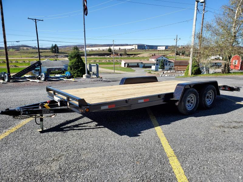 "Trailer Baron General Duty Wood Deck Car Hauler 18' 7K -5' Self Storing Ramps -5"" Channel Frame -4"" Channel Tongue -2' Dovetail -Sealed Beam Lighting -Heavy Duty Fenders -15"" Nitrogen Filled Radial Tires"