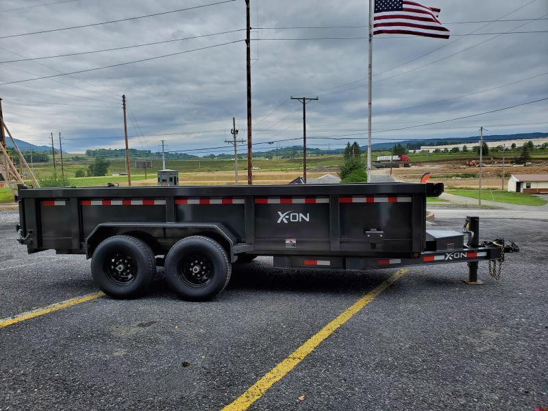 """X-On Low Profile Dumper - 83"""" x 16' - 14K GVWR - 24"""" Sides - 3-Way Rear Gate - Scissor Lift"""