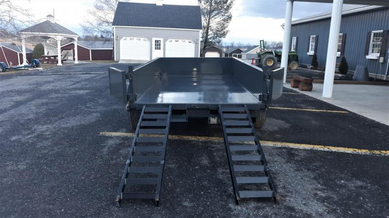 "X-ON Low Profile Dump 72""x12' 10K -Scissor Lift -5' Slide In ramps -6"" Channel Frame -Tarp Kit Installed -LED Lights -10 Gauge Floor -24"" Sides -Spare Mount -Toolbox & Battery Charger -3 Way Gate -Power Up & Down -15"" Radial Tires"