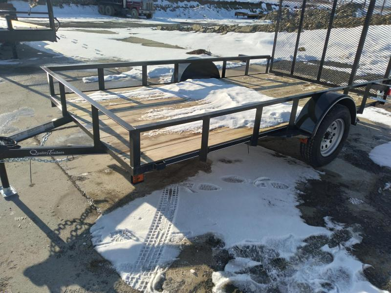 "Quality Trailers Economy Single Axle Landscape 12'X77"" 2990 GVWR -4' Full Landscape Gate -2""x2""x3/16"" Angle Frame -2""x2"" Angle Top Rail -3500# Idler Axle -15"" Nitrogen Filled Radial Tires"