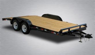"General Duty Wood Deck Car Hauler 16' 7K -5' Self Storing Ramps -5"" Channel Frame -4"" Channel Tongue -2' Dovetail -Sealed Beam Lighting -Heavy Duty Fenders -15"" Nitrogen Filled Radial Tires"