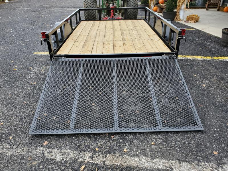 """Quality Trailers 10'x77"""" Pro Grade Utility- 4' Rear Spring Assist Gate- 3""""x3""""x3/16"""" Angle Frame- 2""""x2""""x1/8"""" Tube Top Railing- LED Lights- Nitrogen Filled Radial Tires- 3"""" Channel Tongue"""