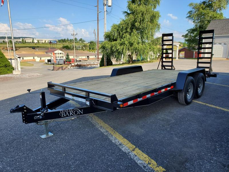 "General Duty Equipment 18' 14K -5' Swing Up Ramps -6"" Channel Frame -6"" Tongue -Adjustable Coupler -7K Drop Leg Jack -2' Dovetail -Sealed Beam Lights -16"" Nitrogen Filled Radial Tires"
