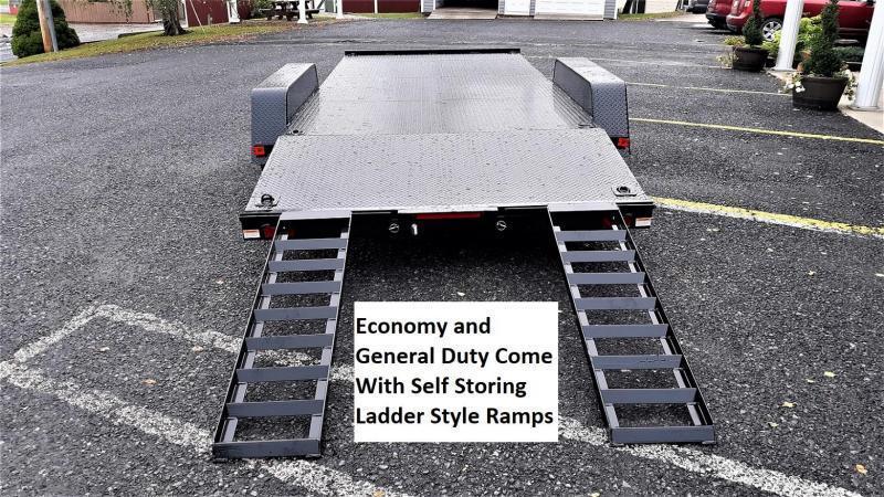 Economy Diamond Deck Car Hauler 18 7K 5 Self Storing Ramps 4 Channel Frame Tongue 4 Dovetail 6 D Rings on Floor Heavy Duty Fenders 15 Nitrogen Filled Radial Tires