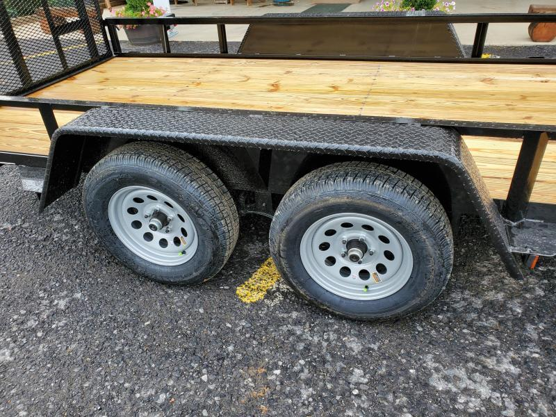 "Economy Tandem Axle Landscape 18' 7K -4"" Landscape Gate -3""x3""x3/16"" Angle Frame -2""x2""x3/16"" Angle Top Rail -4"" Channel Tongue -No Dove -77"" Inside Width -(2) 3500# Braking Axles -15"" Nitrogen Filled Radial Tires"