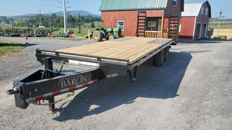 "Trailer Baron Pro Grade Pintle Deckover 25' 25K -5' Spring Assisted Ramps With Support Foot -5' Wood Dovetail -12"" I-Beam Frame -Adjustable Coupler -12K Drop Leg Jack -Tool Tray With Lockable Lid -LED Lights -Slipper Spring Suspension -Dual 16"" 10 Ply Nit"