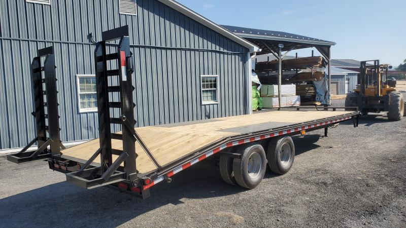 """Trailer Baron Pro Grade Pintle Deckover 25' 25K -5' Spring Assisted Ramps With Support Foot -5' Wood Dovetail -12"""" I-Beam Frame -Adjustable Coupler -12K Drop Leg Jack -Tool Tray With Lockable Lid -LED Lights -Slipper Spring Suspension -Dual 16"""" 10 Ply Nit"""