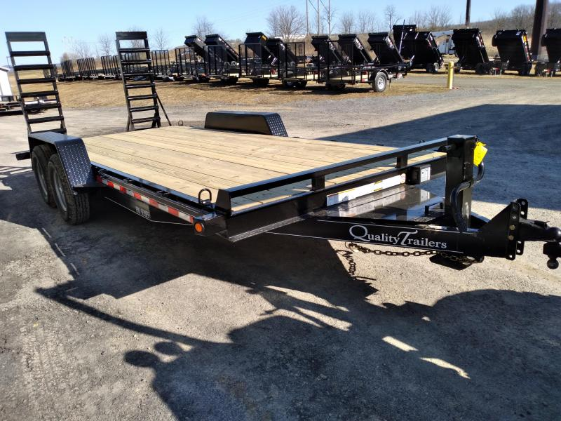 Quality Trailers Pro Grade Equipment 18 10K 5 Swing Up Ramps 6 Channel Frame 5 Tongue Adjustable Coupler 12K Drop Leg Jack Tool Tray With Lockable Lid 2 Dovetail LED Lights 15 8 Ply Nitrogen Filled Radial Tires