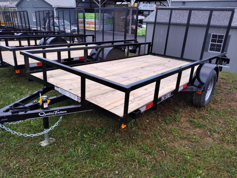 """Quality Trailers Pro Grade Single Axle Landscape 12'X77"""" -4' Landscape Gate -3""""x3""""x3/16"""" Angle Frame -3"""" Channel Tongue -2""""x2"""" Square Tube Top Rail -15"""" Nitrogen Filled Radial Tires"""