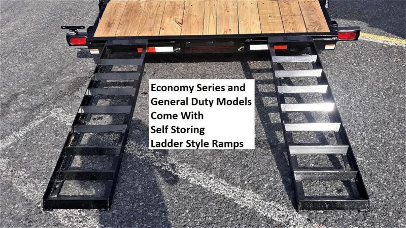"Economy Wood Deck Car Hauler 18' 7K -51"" Side Slide In Ramps -4"" Frame & Tongue -2' Dovetail -Heavy Duty Fenders -(2) 3500# Braking Axles - 15"" Nitrogen Filled Radial Tires"
