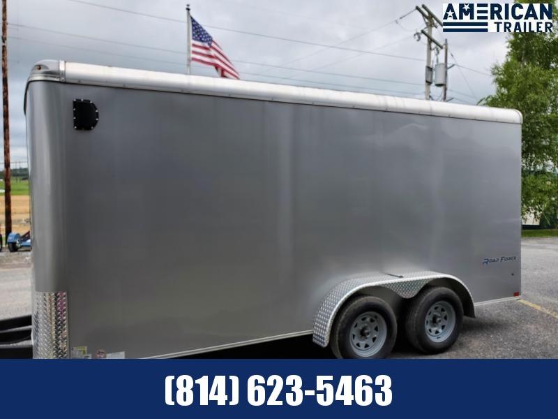 "Wells Cargo- 7'x16'- Road Force Enclosed Cargo Trailer- 6'6"" Interior Height- 36"" Side Entry Door-78""x72"" Rear Ramp Door- Recessed D-Ring in Floor- Full Width Aluminum Ramp Extension- Silver .030 Aluminu"