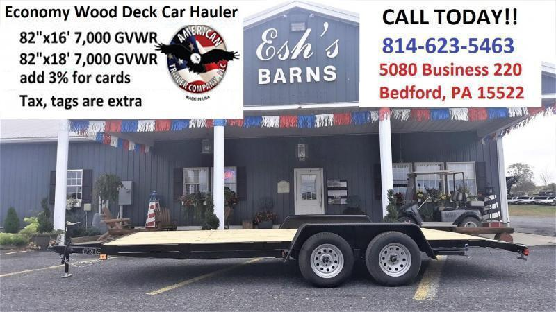 Economy Wood Deck Car Hauler 18 7K 51 Side Slide In Ramps 4 Frame Tongue 2 Dovetail Heavy Duty Fenders 2 3500 Braking Axles 15 Nitrogen Filled Radial Tires