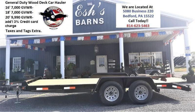 "Trailer Baron General Duty Wood Deck Car Hauler 16' 7K -5' Self Storing Ramps -5"" Channel Frame -4"" Channel Tongue -2' Dovetail -Sealed Beam Lighting -Heavy Duty Fenders -15"" Nitrogen Filled Radial Tires"