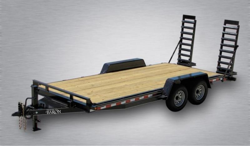"Trailer Baron Pro Grade Equipment 18' 15K -5' Swing Up Ramps -6"" Channel Frame -6"" Tongue -Adjustable Coupler -12K Drop Leg Jack -Tool Tray With Lockable Lid -2' Dovetail -LED Lights -16"" 10 Ply Nitrogen Filled Radial Tires"