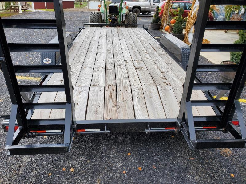 """Pro Grade Equipment 18' 15K -5' Swing Up Ramps -6"""" Channel Frame -6"""" Tongue -Adjustable Coupler -12K Drop Leg Jack -Tool Tray With Lockable Lid -2' Dovetail -LED Lights -16"""" 10 Ply Nitrogen Filled Radial Tires"""