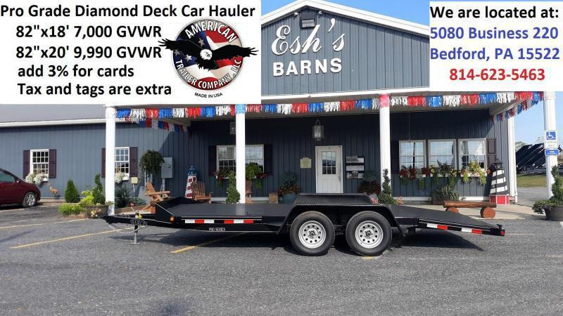 "Trailer Baron Pro-Grade Diamond Deck Car Hauler 18' 7K -5' Punched Surface Ramps -5""x2"" Tube Frame & Tongue -4' Dovetail -6 D-Rings & Stake Pockets With Rubrail -Heavy Duty Fenders -15"" 8 Ply Nitrogen Filled Radial Tires"