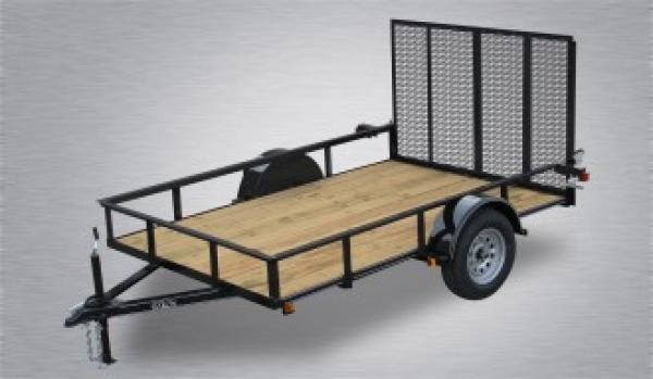 """Quality Trailers Economy Single Axle Landscape 10'X77"""" 2990 GVWR -4' Full Landscape Gate -2""""x2""""x3/16"""" Angle Frame -2""""x2"""" Angle Top Rail -3500# Idler Axle -15"""" Nitrogen Filled Radial Tires"""