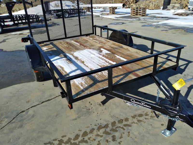 "Quality Trailers Economy Single Axle Landscape 10'X77"" 2990 GVWR -4' Full Landscape Gate -2""x2""x3/16"" Angle Frame -2""x2"" Angle Top Rail -3500# Idler Axle -15"" Nitrogen Filled Radial Tires"