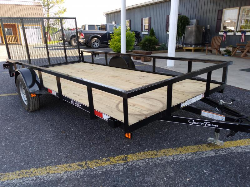 """Quality Trailers Pro Grade Utility Trailer 14'x77"""" - 3 x3 x3 16 Angle Frame -  2 x2 x1 8 Tube Top Railing -  3"""" Channel Tongue -  4 Spring Assist Rear Gate - 15"""" Nitrogen Filled Radial Tires - LED Lights"""
