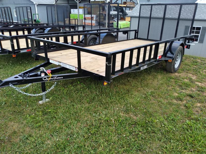 Trailer Baron Pro Grade Utility Trailer 77x12 /  3 x3 x3 16 Angle Frame 2 x2 x1 8 Tube Top Railing 3 Channel Tongue 4 Spring Assist Rear Gate 15 Nitrogen Filled Radial Tires LED Lights ATV Rails