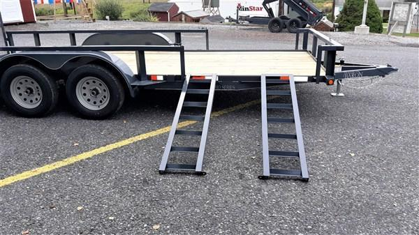 "Pro-Grade Tandem Axle Landscape 18' 7K -Optional ATV Rails -4' Spring Assisted Gate -Tube Top Rail -3""x3""x1/4"" Angle Frame -4"" Channel Tongue -2' Dovetail -LED Lights -82"" Inside Width -15"" 8 Ply Nitrogen Filled Radial Tires"