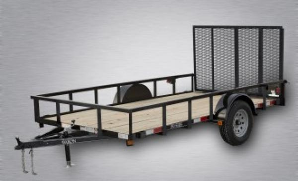 """Pro-Grade Single Axle Landscape 12'X77"""" 2990 GVWR -4' Spring Assisted Gate -3""""x3""""x3/16"""" Angle Frame -2""""x2"""" Tube Top Rail -3"""" Channel Tongue- LED Lights -15"""" 8 Ply Nitrogen Filled Radial Tires"""
