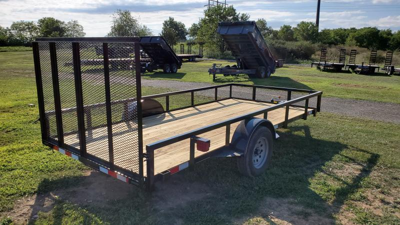Trailer Baron 77 x12 Pro Grade Utility Trailer 3 x3 x3 16 Angle Frame 2 x2 x1 8 Tube Top Railing 3 Channel Tongue 4 Spring Assist Rear Gate 15 Nitrogen Filled Radial Tires LED Lights
