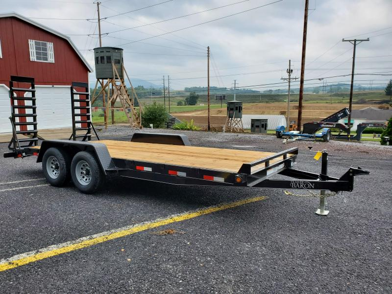 "Trailer Baron General Duty Equipment 18' 10K -5' Swing Up Ramps -6"" Channel Frame -5"" Tongue -Adjustable Coupler -7K Drop Leg Jack -2' Dovetail -Sealed Beam Lights -15"" Nitrogen Filled Radial Tires"