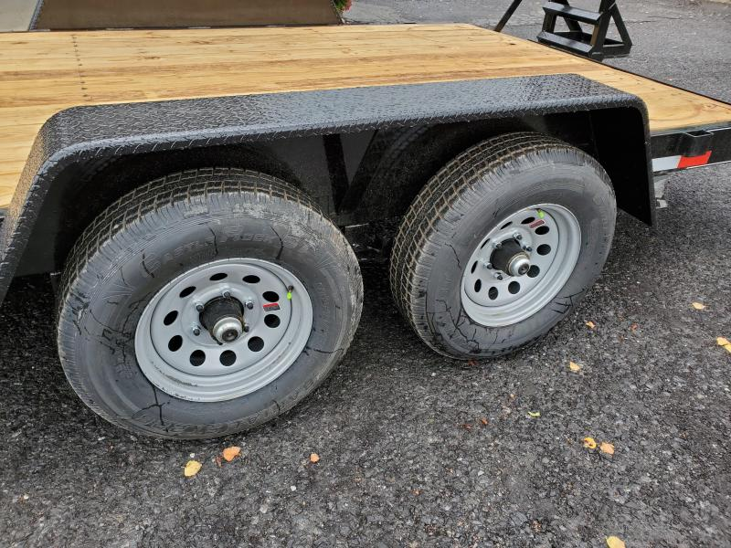 """General Duty Equipment 18' 10K -5' Swing Up Ramps -6"""" Channel Frame -5"""" Tongue -Adjustable Coupler -7K Drop Leg Jack -2' Dovetail -Sealed Beam Lights -15"""" Nitrogen Filled Radial Tires"""