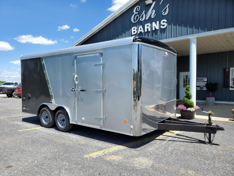 "American Hauler- Steel Falcon- Enclosed Cargo Trailer- 8.5' x 16'- 7K GVWR- ""Flash Package""- 2 Tone Aluminum Exterior- 6'6"" Interior Height- 36"" Side Door- 78"" x 72"" Rear Ramp Door- 2 5/16"" Coupler- 2""x4"" Tube Frame- 3/4"" Plex Core Flooring- 3/8"" Ple"