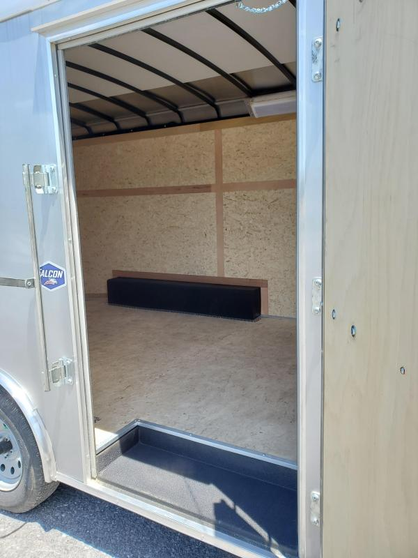 "2020 American Hauler- Steel Falcon- Enclosed Cargo Trailer- 8.5' x 16'- 7K GVWR- ""Flash Package""- 2 Tone Aluminum Exterior- 6'6"" Interior Height- 36"" Side Door- 78"" x 72"" Rear Ramp Door- 2 5/16"" Coupler- 2""x4"" Tube Frame- 3/4"" Plex Core Flooring- 3/8"" Ple"