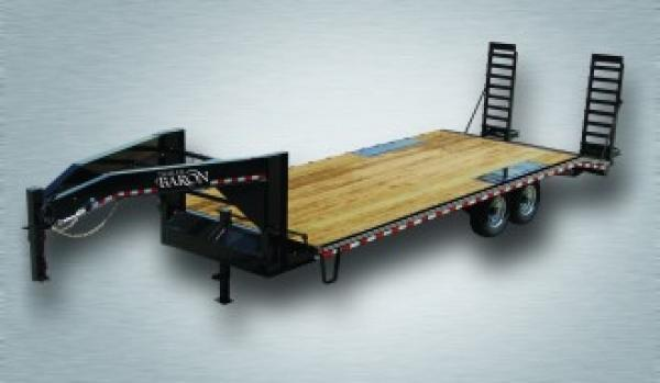 "Trailer Baron Pro-Grade Gooseneck Deckover 28' 17K -Pop-Up Dovetail -5' Swing Up Ramps -10"" I-Beam Frame -12"" Uprights with 10"" Neck -12K Jack -7K Braking Axles -16"" Nitrogen Filled Radial Tires"
