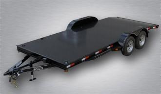 "Trailer Baron General Duty Diamond Deck Car Hauler 18' 7K - 5' Self Storing Ramps -5"" Channel Frame -4"" Channel Tongue -4' Dovetail -6 D-Rings On Floor -Heavy Duty Fenders -15"" Nitrogen Filled Radial Tires"